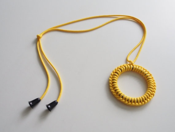 Yellow ring macramé detail necklace by objectsbybrooke on Etsy, $40.00