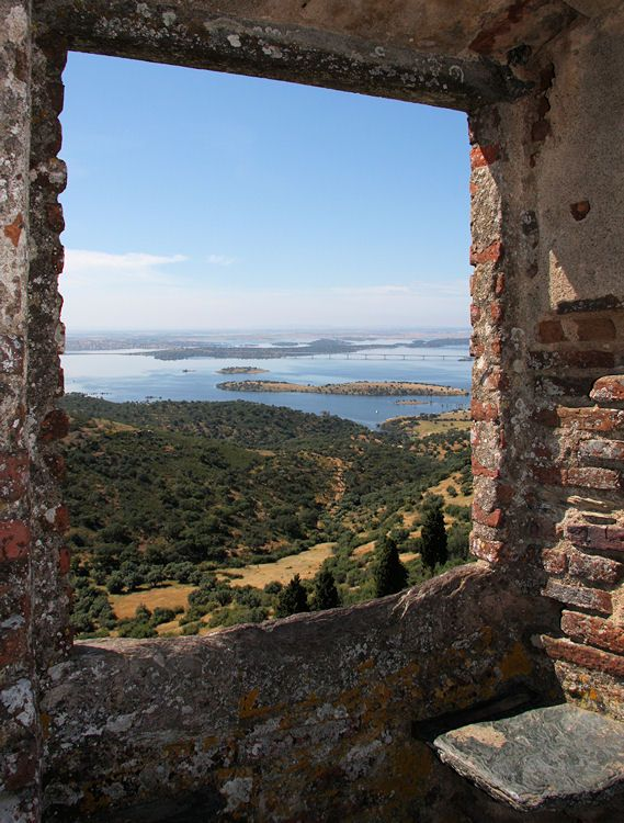 A view over the Alqueva artificial lake, from the Monsaraz medieval wall, #Portugal