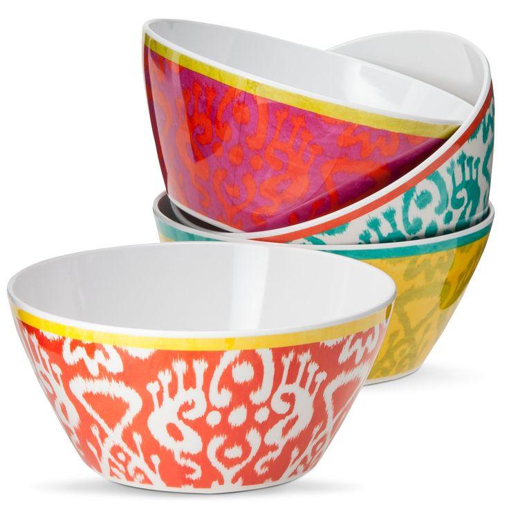 Ikat Print Melamine Assorted Cereal Bowl Set 4-pc - Multicolored