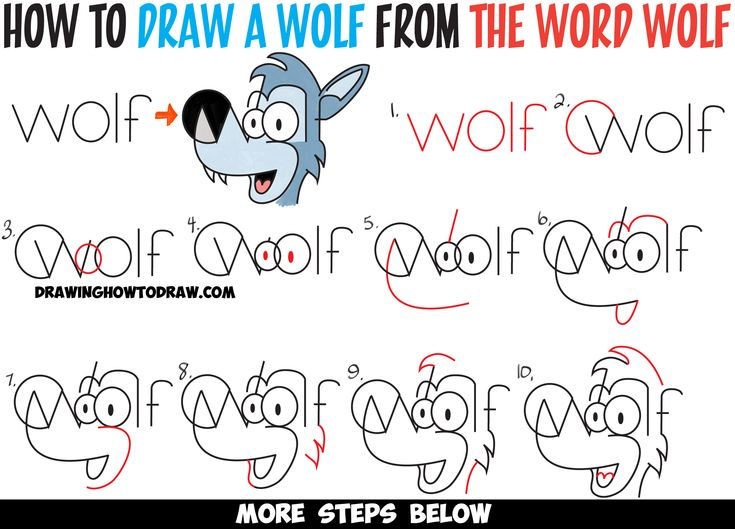 Learn How to Draw Cartoon Wolves from the Word - Cartoon Wolf Simple Step by…