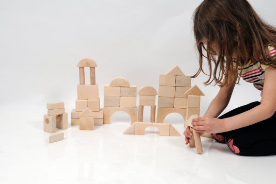 Montessori Wooden Blocks  Building Blocks  50 pieces  by beigebois