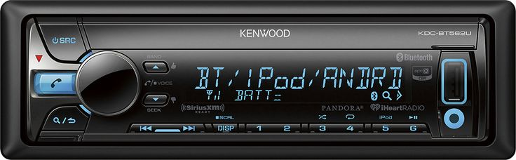 Kenwood - CD - Built-In Bluetooth - Apple® iPod®- and Satellite Radio-Ready - In-Dash Receiver - Black, KDC-BT562U