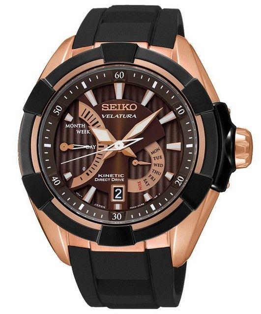 Montre Seiko Velatura Kinetic Direct Drive SRH020P1 homme avec bracelet en silicone noir et cadran noir.