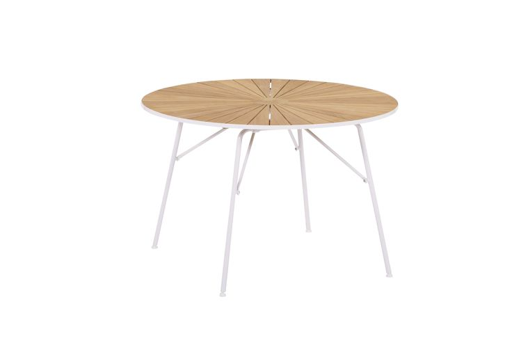 Marguerit folding table with teak table top and powder coated aluminium frame. Diameter 120cm and height 72cm  design by Mandalay Denmark please visit www.mandalay.dk