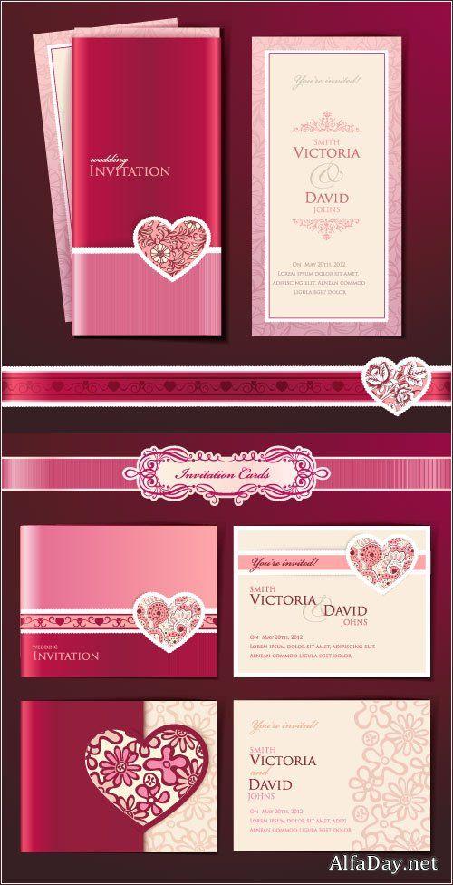 Свадебные шаблоны пригласительных открыток на свадьбу - векторные приглашения, клипарт