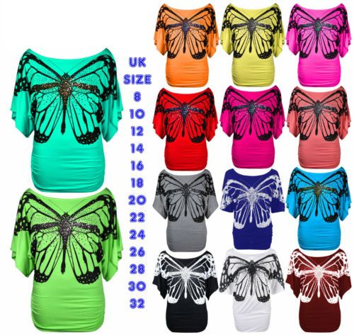 New-Womens-Off-The-Shoulder-Top-Sequin-Butterfly-Batwing-Oversized-Baggy-Loose