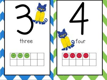 This is a Pete the Cat Chevron Number Line including numbers 1-20.   Each number has a Chevron background alternating the following colors:  red,  blue,  yellow,  green, blue and purple.  Each number also has a ten frame representing that number using Pete's buttons.