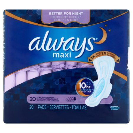 Always Maxi Pads Overnight Extra Heavy Flow - 20 CT, Multicolor