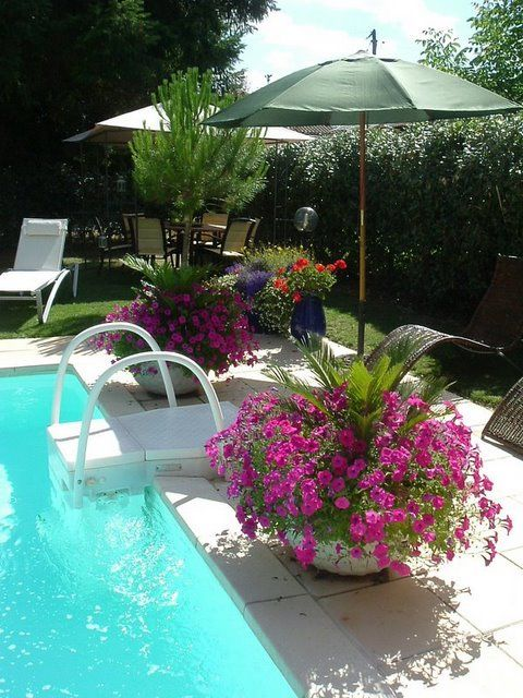 Pool landscaping great idea to put umbrellas in pots for Pool garden design pictures