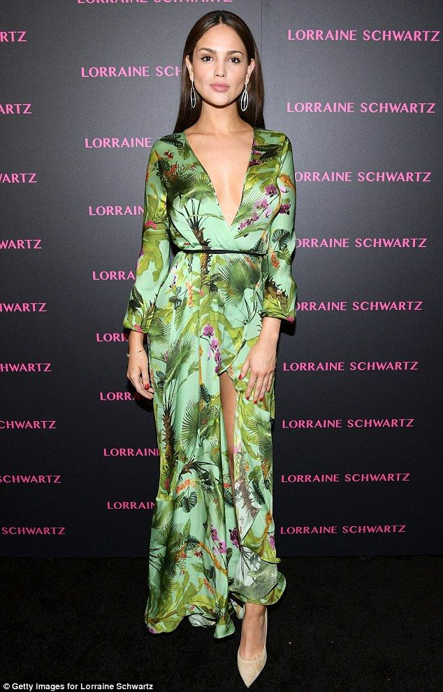f004b0e6 Stunning: Eiza Gonzalez dazzled in an oriental plunging gown on Tuesday as  she enjoyed a n.