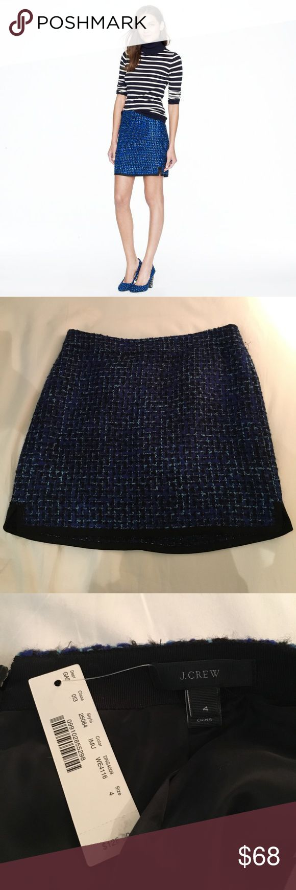 ✨NWT✨ Postage Stamp Mini in Indigo Tweed J. Crew Beautiful, business chic skirt in a blue woven tweed pattern. 17 inches from waist to hem. Looks great with tights and a sweater or collared shirt! Never worn before, still has tags. Size 4. Feel free to make offers. J. Crew Skirts Mini
