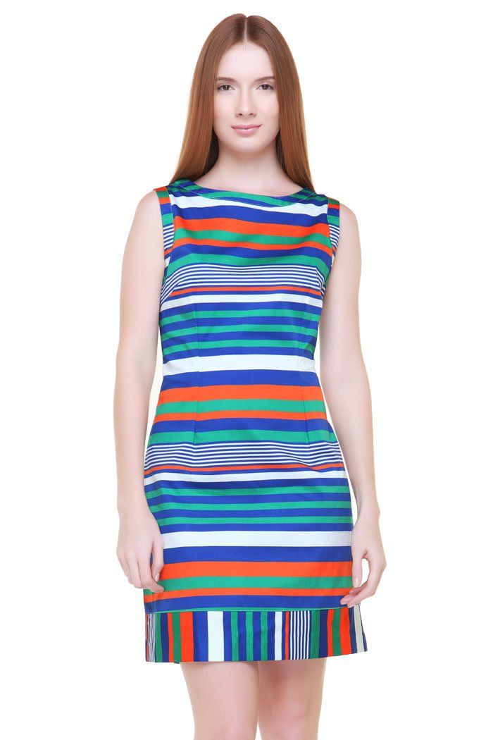 This Sailor Stripe Dress is an ever-chic fashion look. Combine the fresh stripes color with one tone color wedges or sandal. Boat neck, sleeveless, stripes print with blue, orange, green and white, a combination of contrast color that makes this dress look so bright and colorful. http://www.zocko.com/z/JFbgn