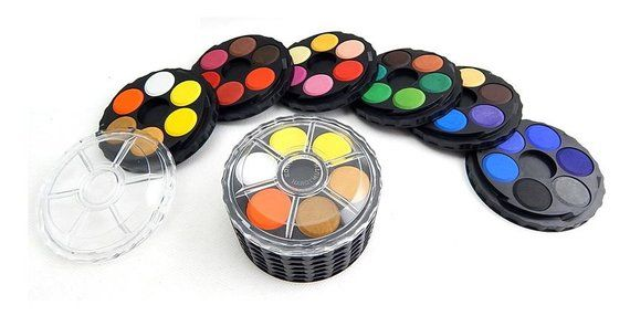 Watercolour Wheel Set 36 Water Color Roud Stackable Paints Koh I