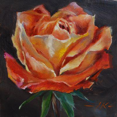 """Olieverf op paneel """"Oranje roos"""", maat 10 x 10 cm. De prijs van dit schilderij is euro 50,00 + verzendkosten"""