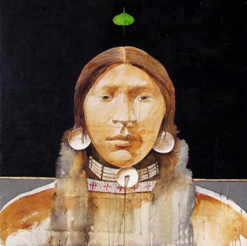 Ben  Wright - Lakota Woman with Cottonwood Leaf
