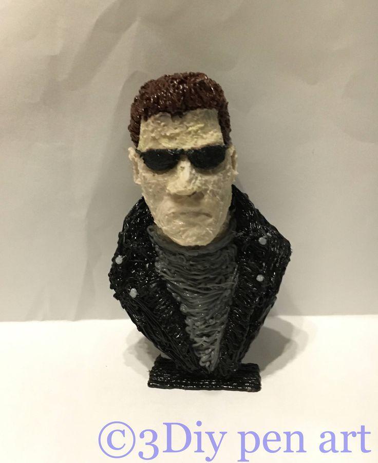 Mezzo busto raffigurante Arnold Schwarzenegger in Terminator 2 di 3DiyPenArt su Etsy