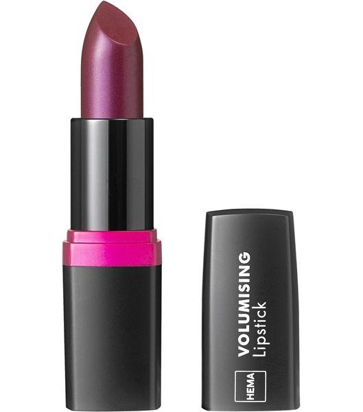 volumising lipstick - nr 08 - HEMA  Donkere roodtinten zijn in. Enkel de koele varianten passen bij het roze dat ook populair blijft. Dus aubergine en pruimkleur shoppen :-)