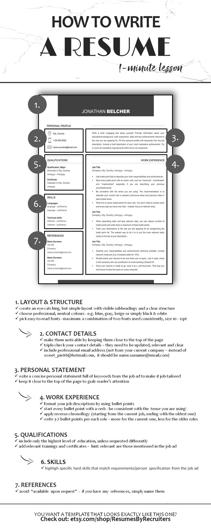 Minimalist CV Resume Template, Instant Download One and