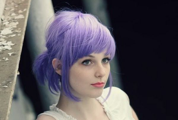 Cute pigtail hairstyle with bangs purple