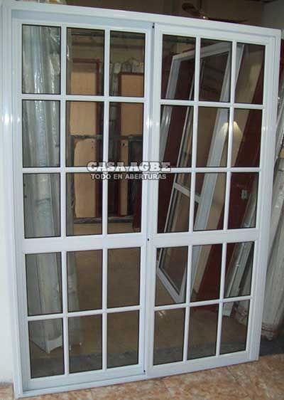 Puerta corrediza de aluminio blanco ventanas y puertas for Puerta ventana de aluminio corrediza
