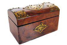 "$290/ 5""high x 9"" wide 19th c. English Walnut  & Brass Tea Caddy Treasure Box"