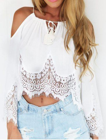 Sexy Scoop Neck Long Sleeve Off-The-Shoulder Women's Blouse Blouses | RoseGal.com Mobile