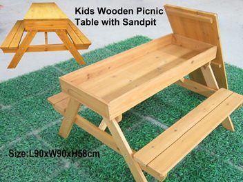 Picnic Table Sandpit Table n Chair w/t Sandpit