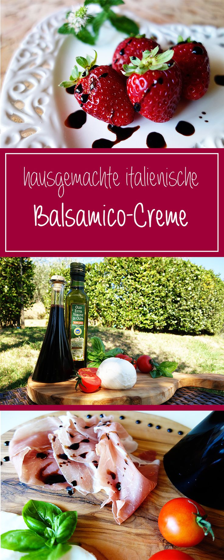Hausgemachte Balsamico-Creme - ein herrlich einfaches italienisches Rezept mit nur zwei Zutaten, das um ein Vielfaches besser & gesünder ist als die Gekaufte! Cremig-süß sowohl für herzhafte als auch würzige Gerichte!  | cucina-con-amore.de