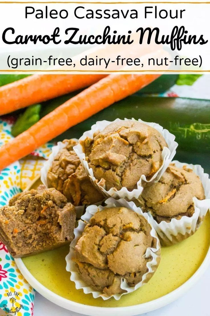 Paleo Cassava Flour Carrot Zucchini Muffins Grain Free Dairy