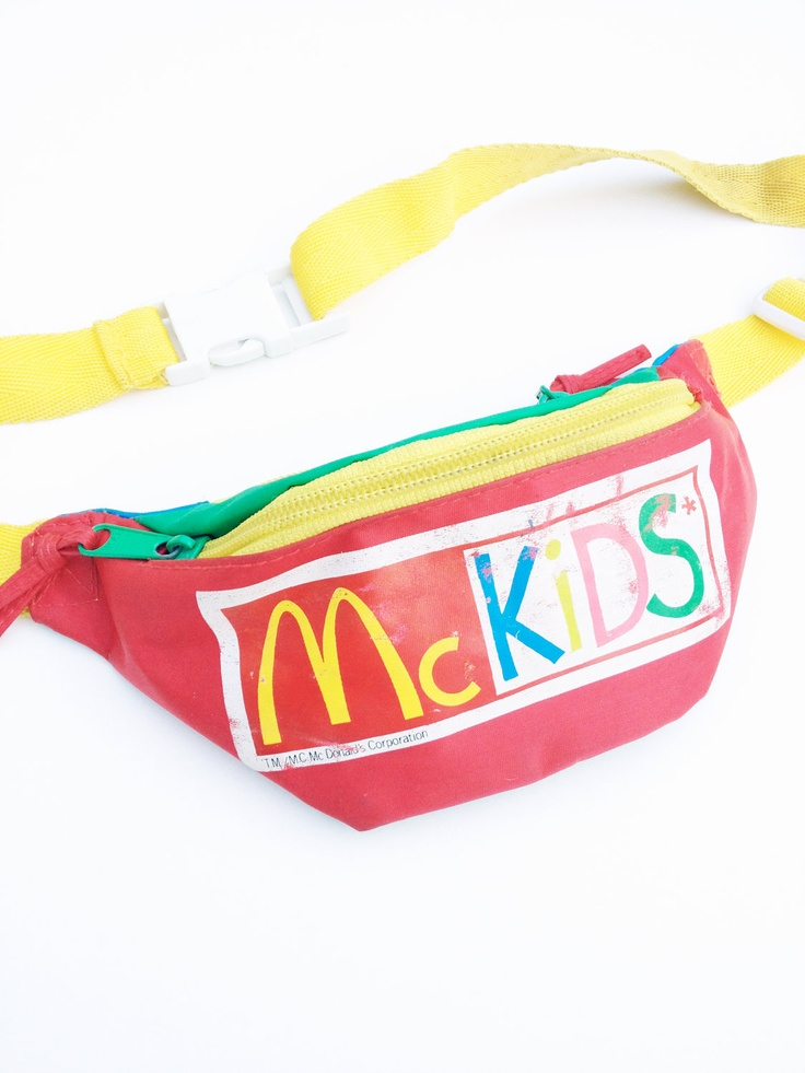 Crazy 80s Colorblock McDonalds Kids Fanny Pack - 24 to 28. $75.00, via Etsy.