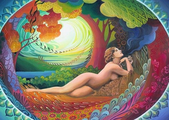 Nepenthe Goddess of Bliss Psychedelic Goddess Art 5x7 Greeting Card