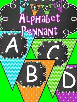Chevron Alphabet Pennant - Bunting - Classroom Decor