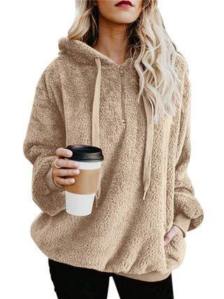 bbbc82d5304 Zipper Long Sleeve Casual Solid Plus Size Teddy Bear Hoody