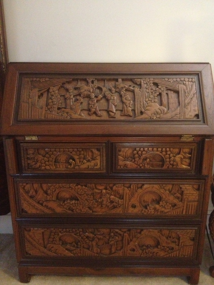 Carved Wood Japanese Bankers Desk Design a House with