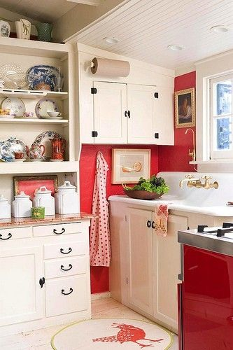 Like the red with blue & white dishes - cottage kitchens