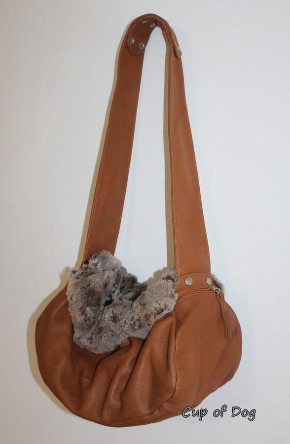 Sac de transport pour chien Aloke Leather Bag Cognac https://www.cupofdog.fr/sac-transport-chihuahua-petit-chien-xsl-351.html