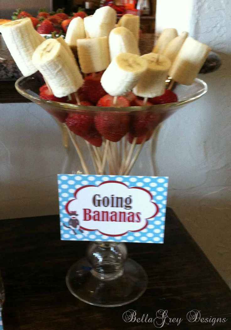 Sock Monkey Party - bananas & strawberries on a stick