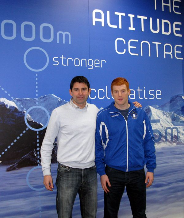 Manager Stuart Taylor pictured with striker Rory Gaffney, who penned a fresh deal for 2014, at the Altitude Gym at the Delta Sports Dome in Limerick.