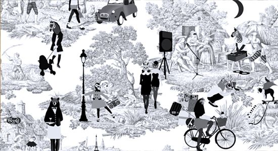 toile pattern designed by Emily Forgot for W Paris Opera Hotel - i'm so staying there next time!