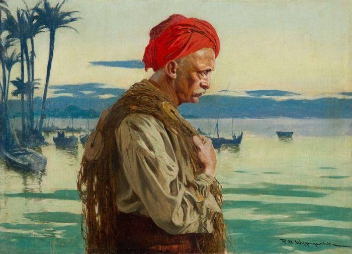 Feliks Michał Wygrzywalski - Autoportret na tle morza