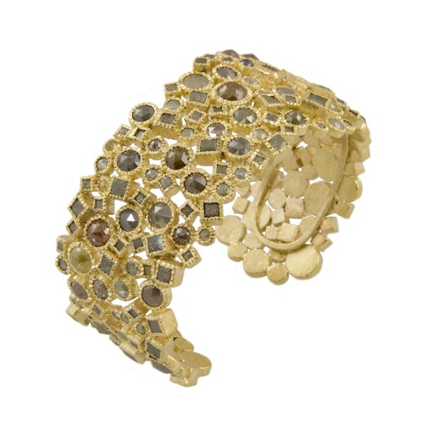 Todd Reed bracelet: 18ky gold, natural colored rose cut diamonds (47.77 ctw), raw diamond cubes (18.3 ctw), hand forged and fabricated