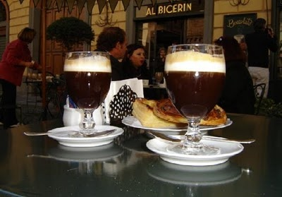 """Bicerin is a traditional drink specific to the town of Turin, Italy. It's made of espresso, hot chocolate and whole milk served layered in a small rounded glass. The word bicerin is Piedmontese for """"small glass"""". This type of beverage has been known since the 18th century and it's been praised by the famous Alexandre Dumas.       The Caffè Al Bicerin has been serving the drink in Torino's Piazza della Consolata since the eighteenth century, and some authorities believe that the drink was…"""