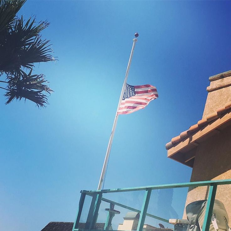 My sweet neighbor is a veteran and always displays his flag. Today it was at half mast.  Thank you sir.