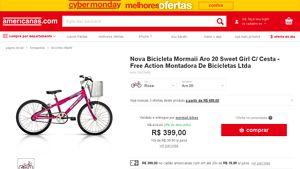 [Americanas.com] Nova Bicicleta Mormaii Aro 20 Sweet Girl C / Cesta - Free Action Montadora De Bicicletas Ltda - de R$ 472,84 por R$ 399,00…