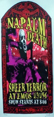 Original silkscreen concert poster for Napalm Death at Emos, Austin, TX. 23x11. Limited silkscreen print of only 300.  Signed