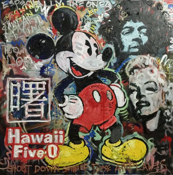Large Pop Art Painting by Matt Pecson Large Wall Art 48x48 Canvas Painting Original Painting Jimi Hendrix Marilyn Monroe Mickey Mouse Disney