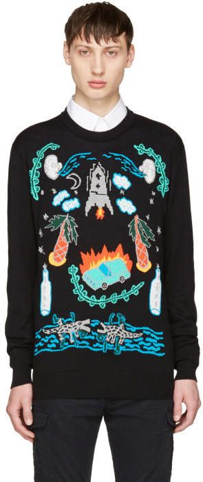 Diesel Black K-Katt Sweater Long sleeve knit cotton sweater in black. Rib knit crewneck collar, cuffs, and hem. Multicolor jacquard graphics knit at front. Logo plaque at front hem. Gunmetal-tone hardware. Tonal stitching. http://shopstyle.it/l/nbiW