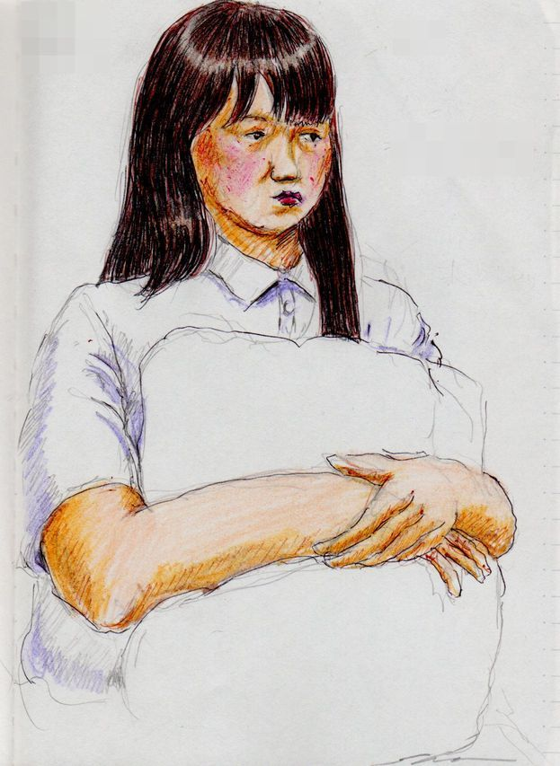 白いポロシャツのお姉さん(通勤電車でスケッチ)A sketch of the lady who put on a white polo shirt. It was drawn by commuter train.