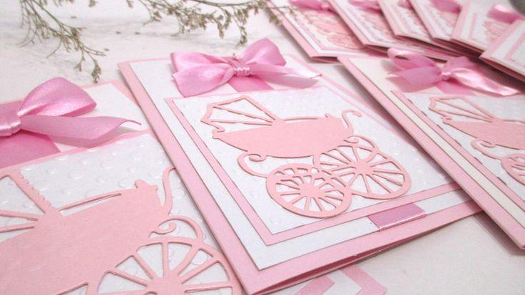 Christening Invitations – Baby Shower Invitation. Pink Pram Invitation – a unique product by MagicalStart on DaWanda