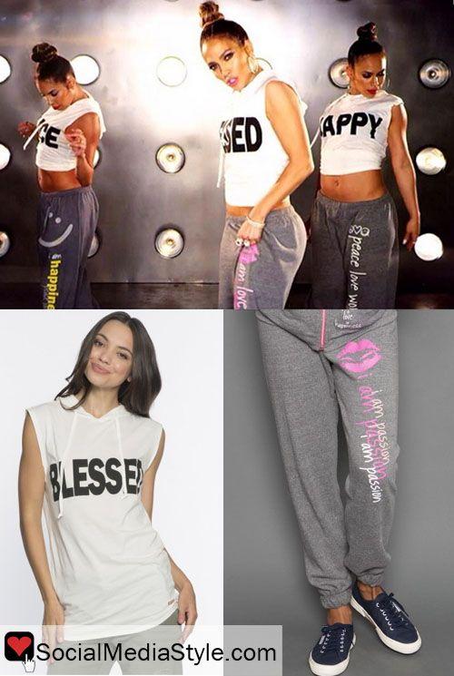 Jennifer Lopez's I Luh Ya Papi Blessed Shirt and I am Passion Sweatpants